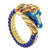 Frascarolo Gold, Enamel and Diamond Horse Bangle