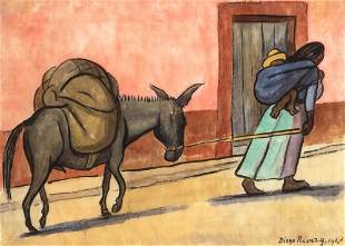 Diego Rivera Mexican, 1886-1957 Woman with a Donkey,
