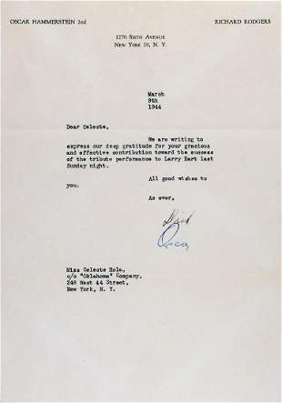 RODGERS and HAMMERSTEIN Letter to Celeste Holm signed