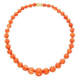 Coral Bead Necklace with Gold Clasp