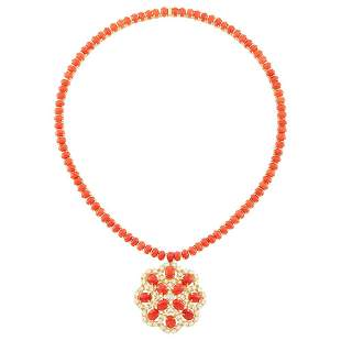 Gold, Coral and Diamond Pendant-Necklace