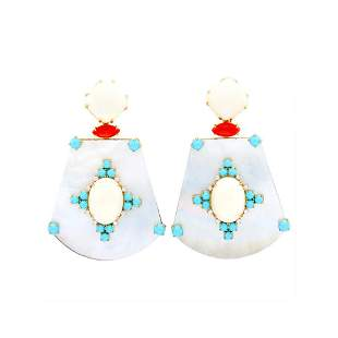 Pair of Gold, Mother-of-Pearl, Coral, Turquoise and