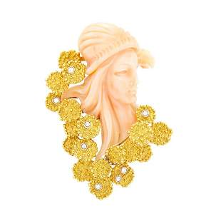 Gold, Carved Angel Skin Coral and Diamond Clip-Brooch