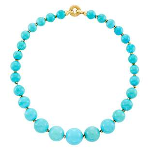 Gold and Turquoise Bead Necklace
