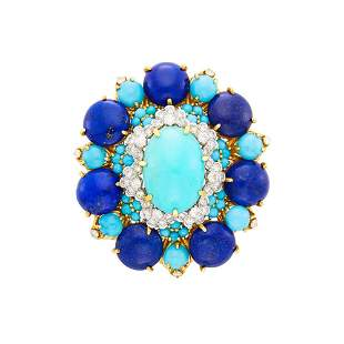 Gold, Turquoise, Lapis and Diamond Clip-Brooch