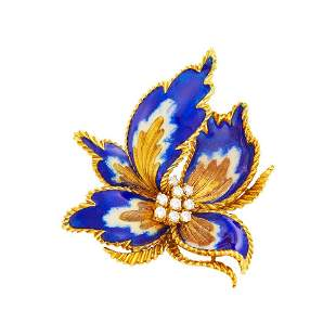 Gold, Enamel and Diamond Flower Clip-Brooch