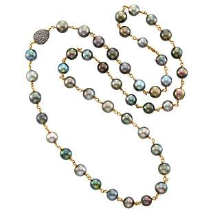 Long Gold, Tahitian Gray Cultured Pearl, Blackened Gold