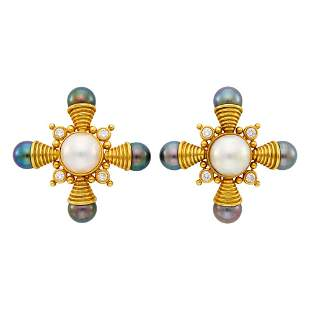 Pair of Gold, Mabé Pearl, Gray Cultured Pearl and
