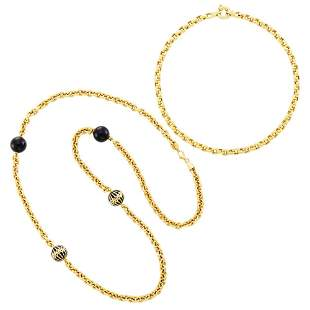 Wempe Two Gold and Black Enamel Chain Link Necklaces