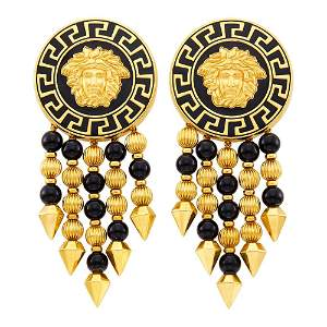 Gianni Versace Pair of Gold, Black Enamel and Black
