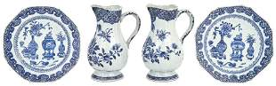 A Pair of Chinese Blue and White Porcelain Jugs Early