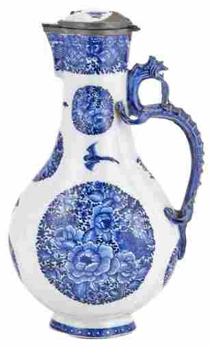 A Chinese Blue and White Porcelain Dragon-Handled Ewer