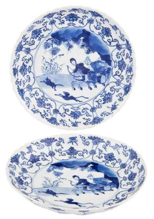 """A Pair of Chinese Blue and White Porcelain """"Hunt"""""""