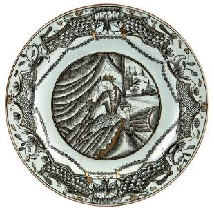 A Chinese Grisaille Decorated Porcelain Plate Circa