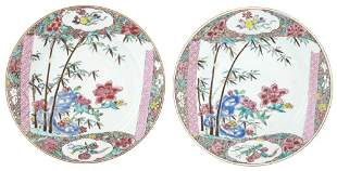 A Pair of Chinese Export Enameled Porcelain Plates Late