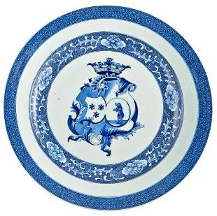 A Chinese Armorial Blue and White Porcelain Charger for