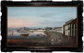 A Rare China Trade Painting of Macau Harbor First half