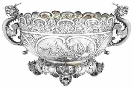 A Chinese Export Silver Centerpiece Bowl Wang Hing,