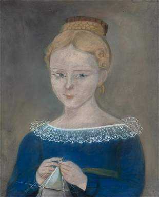American School New England, 19th Century Portrait of a
