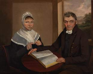 Canadian School 19th Century Portrait of Man and Woman