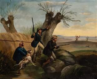 American School 19th Century Rabbit Hunting Oil on