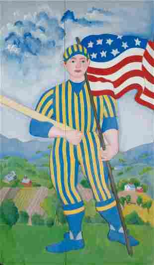 Folk Art School 20th Century Baseball Player Tempera on