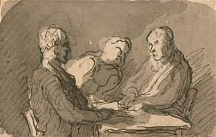 Honore Daumier French, 1808-1879 Etude pour 'Joueurs de