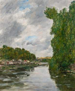 Eugene Louis Boudin French, 1824-1898 Une Riviere Aux