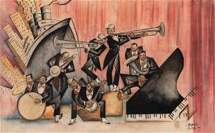 Paul Colin French, 1892-1985 Jazz Band Signed Paul