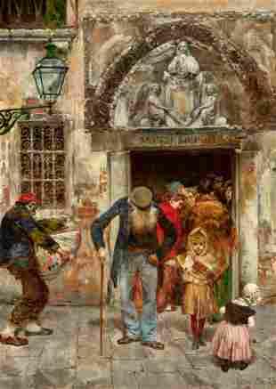 Oreste Da Molin Italian, 1856-1921 Leaving Church,