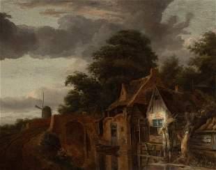 Dutch School 18th/19th Century Houses along a Canal