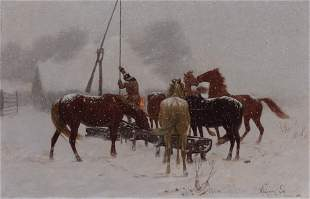 Wlodzimierz Los Polish, 1849-1888 Watering Horses,