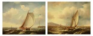 Dutch School Early 20th Century Sailboats off a Coast: