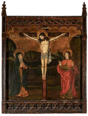 Spanish School 16th Century The Crucifixion with the