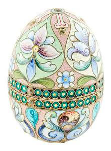 Russian Silver-Gilt and Cloisonné Enamel Easter