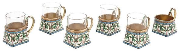 Set of Six Russian Silver-Gilt and Cloisonné
