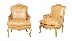 Pair of Louis XV Style Alligator-Upholstered Giltwood