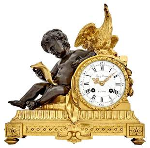 French Gilt- and Patinated-Bronze Mantel Clock