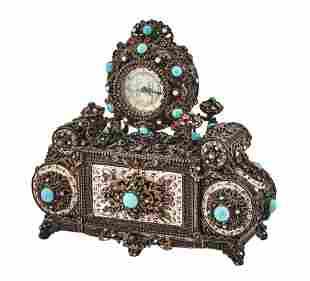 Austrian Enamel Metal 'Jeweled' Mantel Clock
