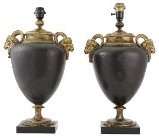 Pair of Patinated and Gilt-Metal Urn-Form Lamps