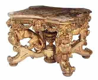 Continental Giltwood and Alabaster Center Table