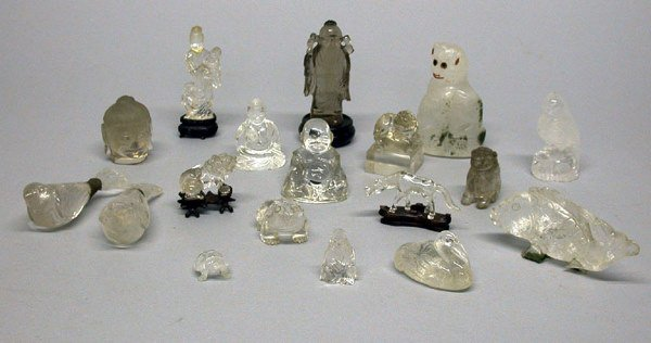 2193: Large Group of Asian Clear Glass and Rock Crystal