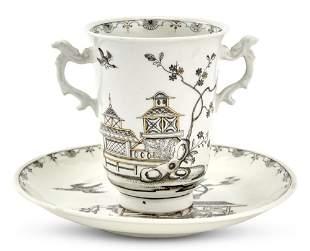Vienna (du Paquier) Porcelain Schwarzlot Two-Handled