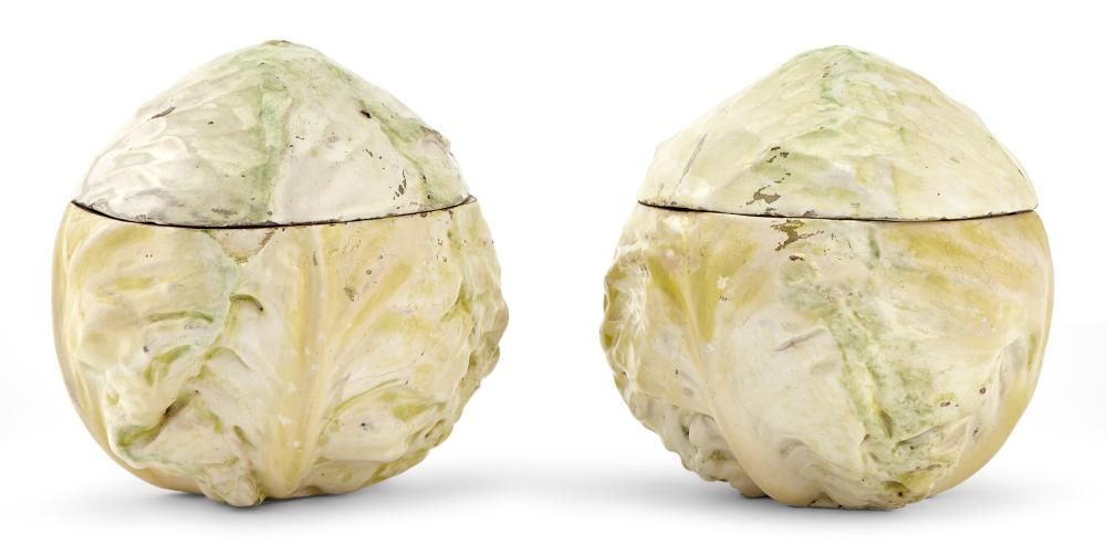 Pair of French Faience Trompe l'Oeil Cabbage-Form Boxes