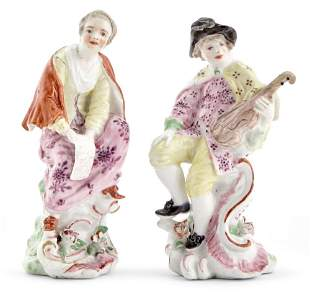 Pair of Longton Hall Porcelain Figures of a Musician