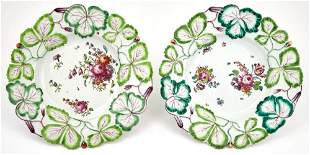 Two Longton Hall Porcelain Strawberry-Leaf Molded