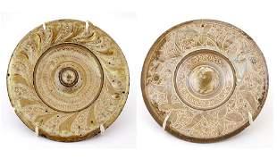 Two Hispano Moresque Copper-Lustre Tin-Glazed