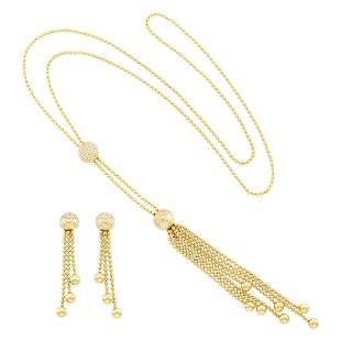 Cartier Gold and Diamond 'Draperie' Sautoir and Pair of