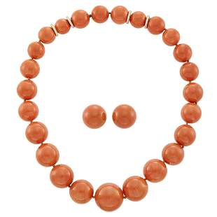 Sabbadini Coral Bead, Gold and Diamond Necklace and