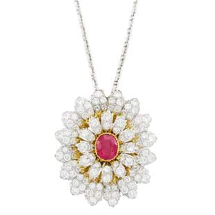 Buccellati Two-Color Gold Ruby and Diamond Clip-Brooch